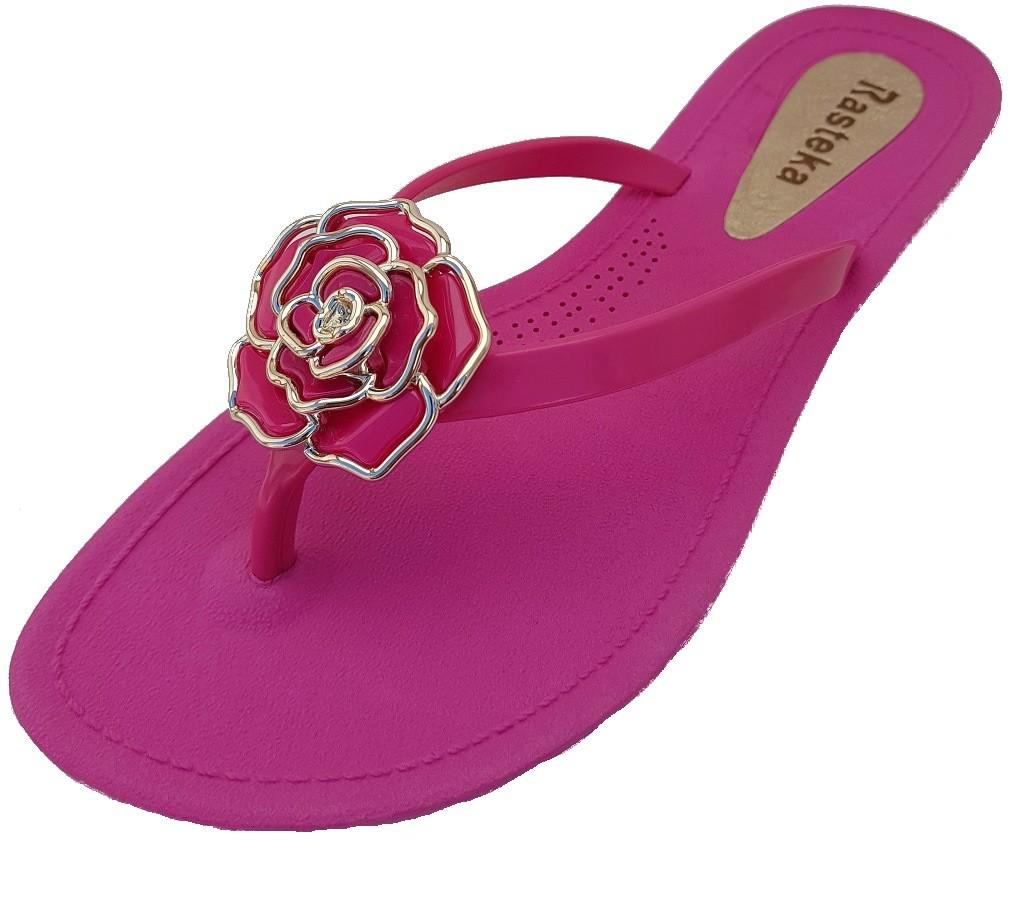 Sandália Rasteira Rasteka Super Confortável Rosa Flor Rosa e Prata  - ShopNoroeste.com.br
