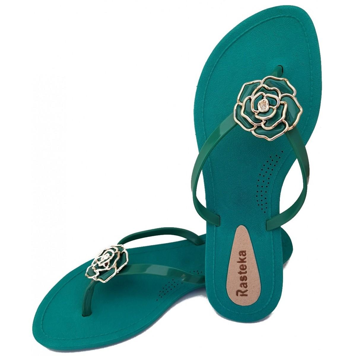 Sandália Rasteira Rasteka Super Confortável Verde Flor Verde e Prata  - ShopNoroeste.com.br