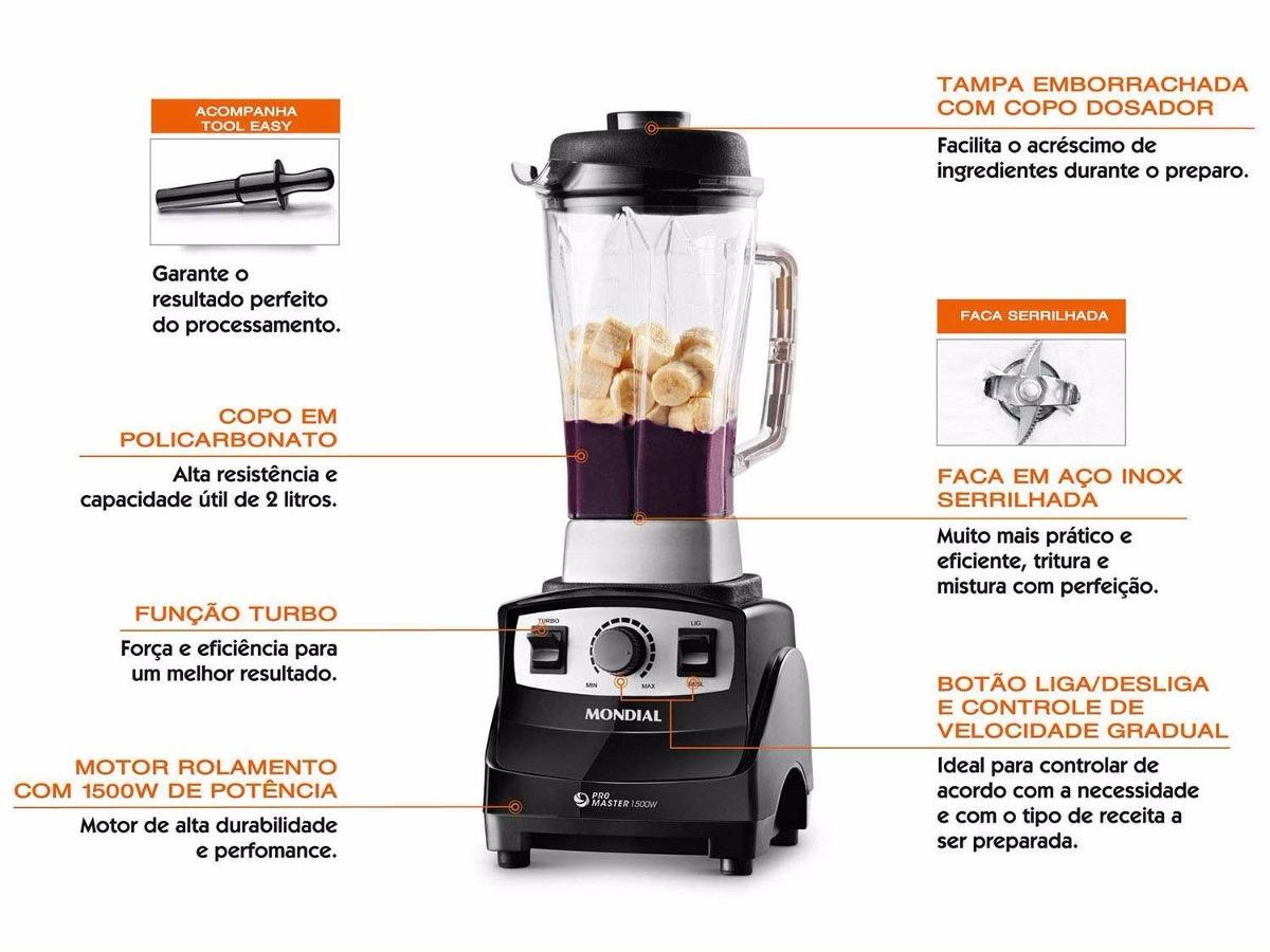 Liquidificador Mondial Pro Master 1500W Premium L91 127V  - ShopNoroeste.com.br