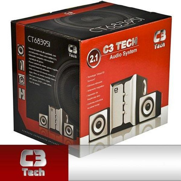 Subwoofer 2.1 C3 Tech CT683951 21W RMS Prata/Preto  - ShopNoroeste.com.br