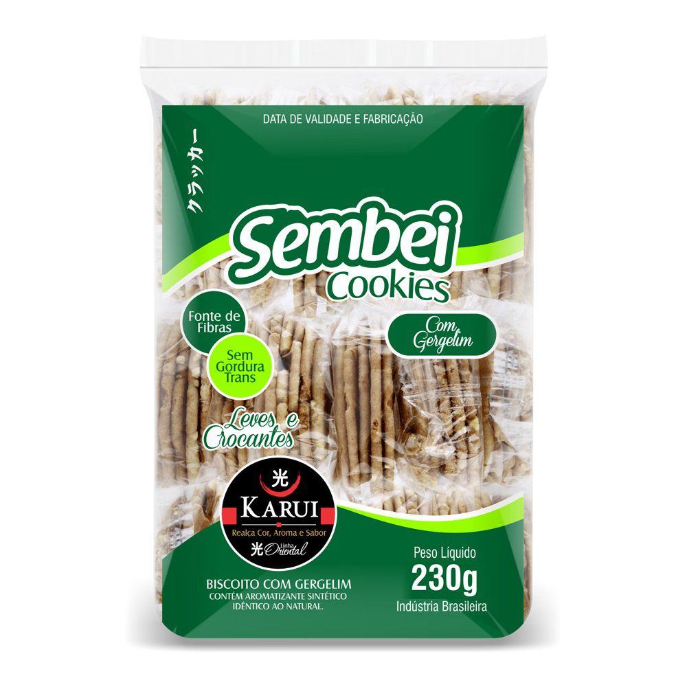 Biscoito Sembei Gergelim 230g Karui Zero Gordura Trans  - ShopNoroeste.com.br