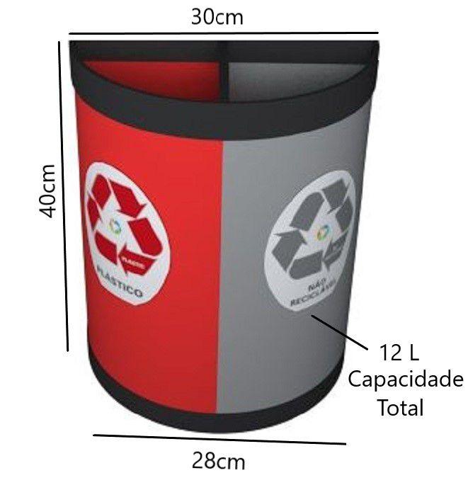 Cesto Coleta Seletiva 12 Litros 2 Partes Plástico e Não Reciclável Só Lixeiras  - ShopNoroeste.com.br