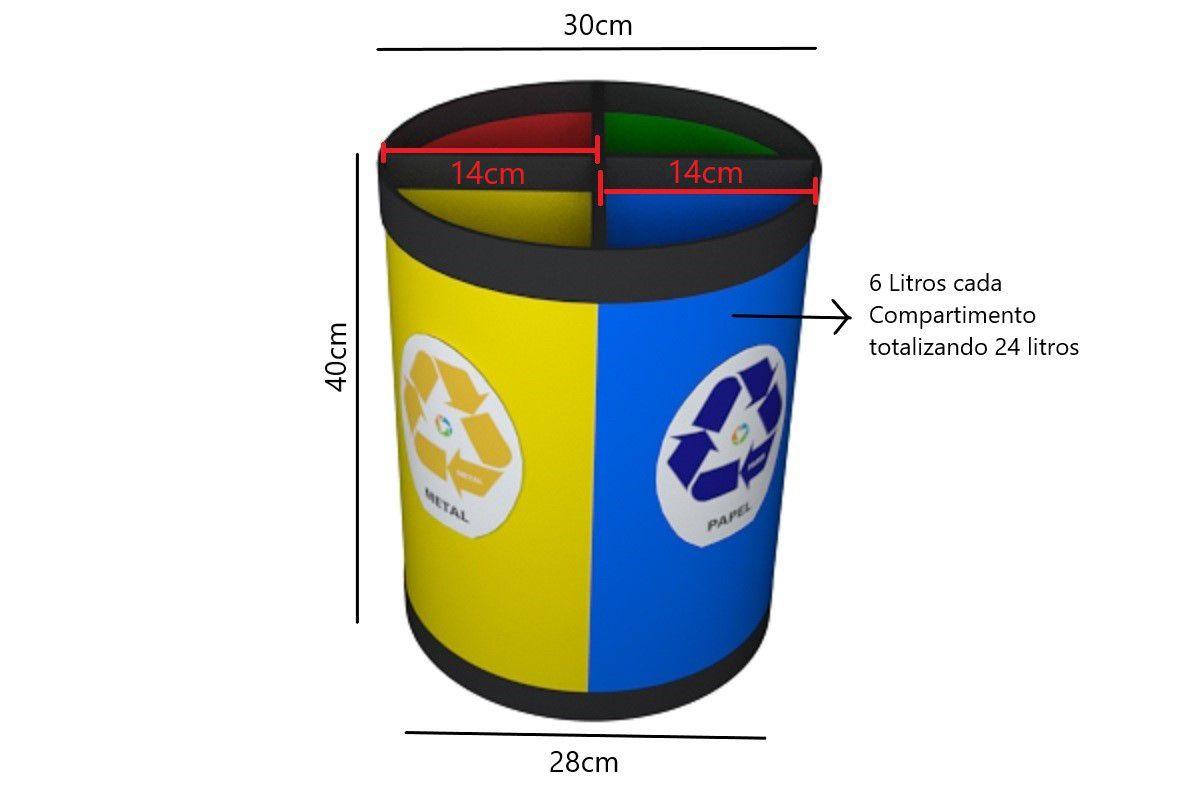 Cesto Coleta Seletiva 24 Litros 4 Partes Plástico Vidro Metal e Papel Só Lixeiras  - ShopNoroeste.com.br