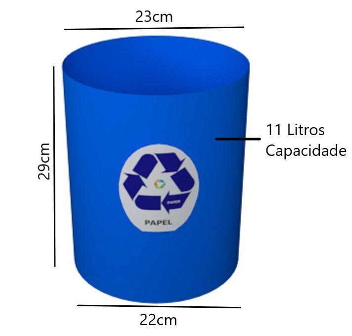 Cesto Coleta Seletiva Papel Só Lixeiras 11 Litros Azul  - ShopNoroeste.com.br