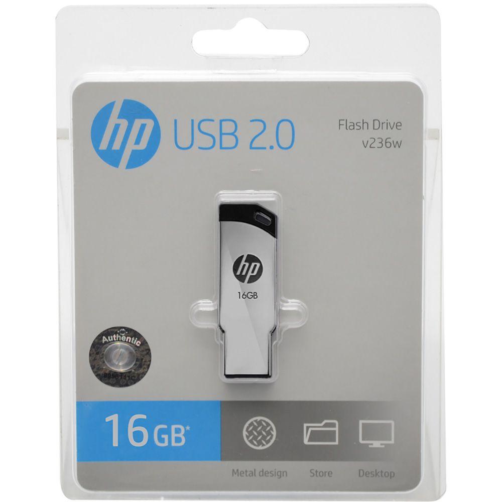Pen Drive HP 16GB USB 2.0 Metálico V236W  - ShopNoroeste.com.br