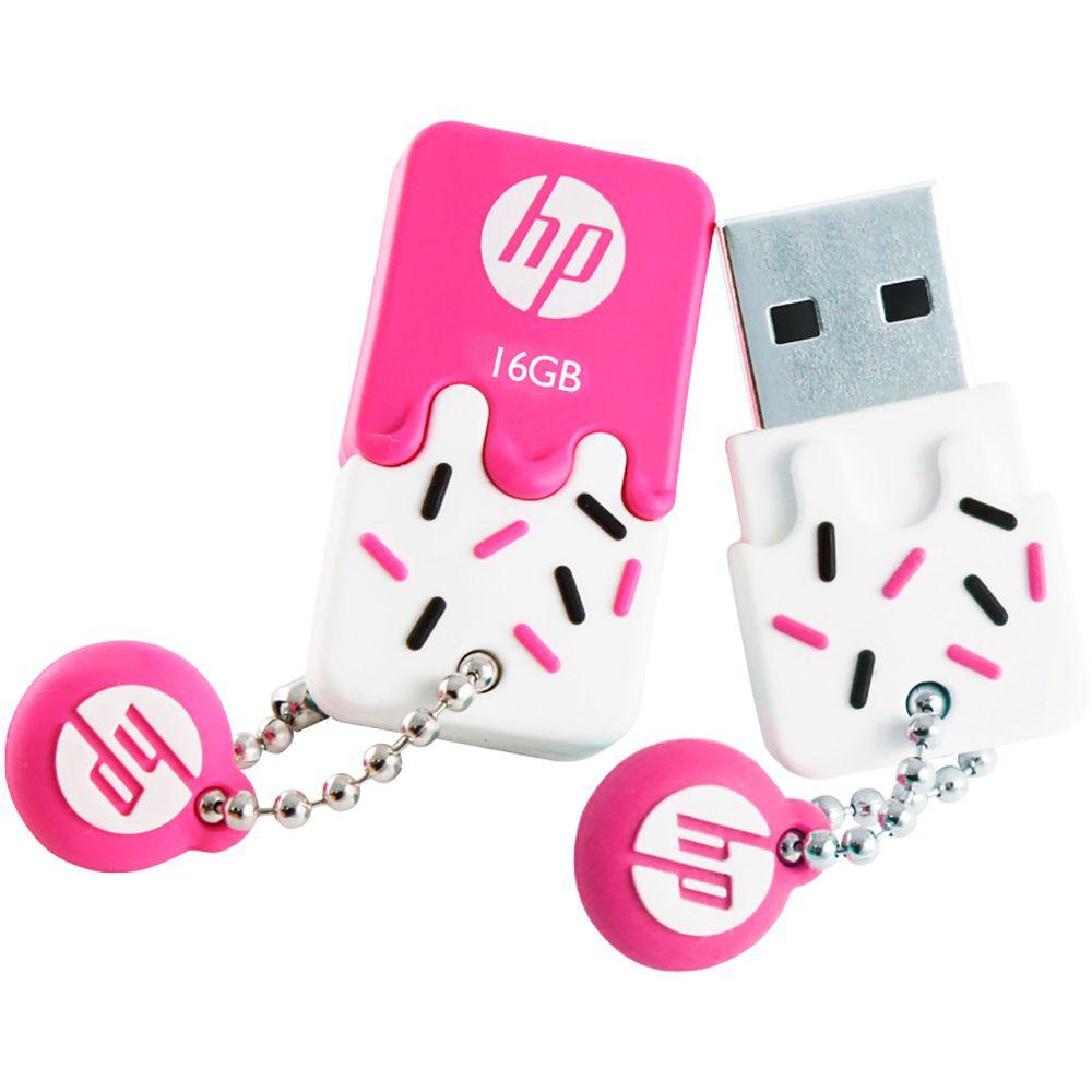 Pen Drive HP 16GB Sorvetinho USB 2.0 Mini Rosa V178B Prova d