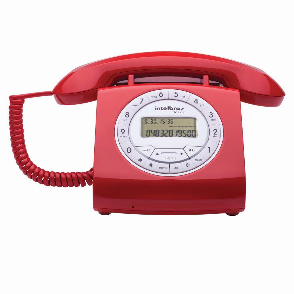 Telefone Intelbras TC 8312 Retro Vermelho  - ShopNoroeste.com.br