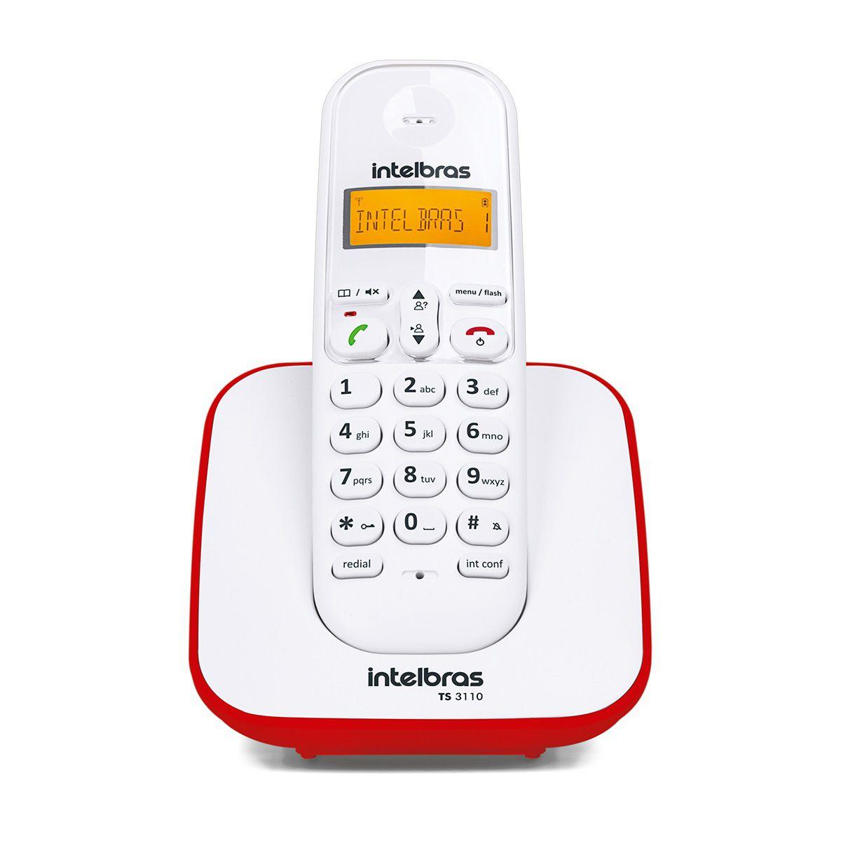 Telefone Sem Fio Digital Intelbras TS 3110 Branco e Vermelho  - ShopNoroeste.com.br