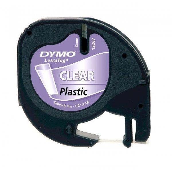 Fita Dymo Letratag 16952 Poliéster 12mm Preto/Transparente