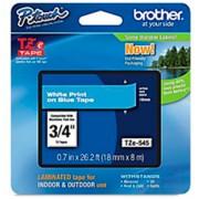 Fita Rotulador Brother TZE-545 18mm Branco/Azul