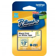 Fita Rotulador Brother 12mm M-231 Preto/Branco