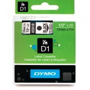 Fita Dymo D1 45010 Poliéster 12mm Preto/Transparente