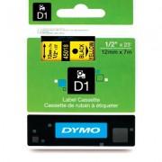 Fita Dymo D1 45018 Poliéster 12mm Preto/Amarelo