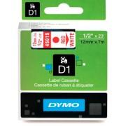 Fita Dymo D1 45015 Poliéster 12mm Vermelho/Branco