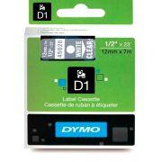 Fita D1 de Poliester Dymo Branco sobre Transparente 12mm