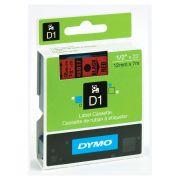 Fita D1 Poliéster Dymo 12mm - Preto sobre Vermelho (45017)