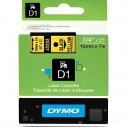 Fita Dymo D1 45808 Poliéster 19mm Preto/Amarelo