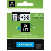Fita Dymo D1 43613 Poliéster 6mm Preto/Branco
