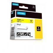 Fita de Vinil Para Rotulador e Impressora Portátil Preto no Amarelo 3M RHINO DYMO 12MMX5,5M