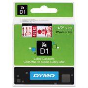Fita Dymo D1 45012 Poliéster 12mm Vermelho/Transparente
