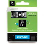 Fita Dymo D1 45811 Poliéster 19mm Branco/Preto