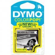 Fita Dymo D1 ColorPop 12mm Prata com Glitter