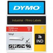 Fita Dymo Vinil 12mm Branco/Vermelho 1805431 Rhino