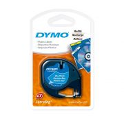 Fita Dymo Letratag 91335 Poliéster 12mm Preto/Azul