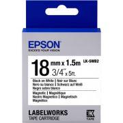 Fita Magnética Epson LK-5WB2 18mm Preto/Branco