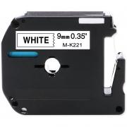 Fita Para Rotulador M-K221 9mm Preto/Branco