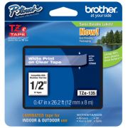 Fita Rotulador Brother TZE-135 12mm Branco/Transparente