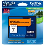 Fita Rotulador Brother TZe-B51 24mm Laranja Fluorescente
