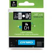 Fita Dymo D1 45021 Poliéster 12mm Branco/Preto