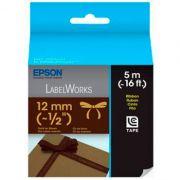 Fita Rotulador Epson LC-4NKK5 12mm Tecido Acetinado Dourado/Marrom