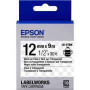 Fita Rotulador Epson LK-4TBN 12mm Preto/Transparente LW300 LW400