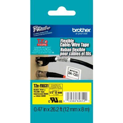 Fita Rotulador Brother TZEFX-631 12mm Preto/Amarelo Flexível