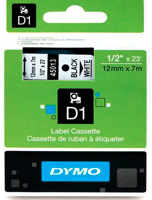 Fita Dymo D1 45013 Poliéster 12mm Preto/Branco
