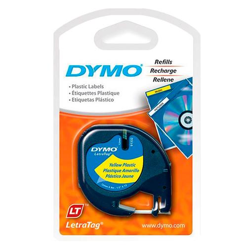 Fita Dymo Letratag 91332 Poliéster 12mm Preto/Amarelo