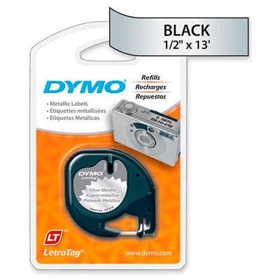 Fita Dymo Letratag 91338 Poliéster 12mm Preto/Prata