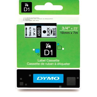 Fita Dymo D1 45803 Poliéster 19mm Preto/Branco