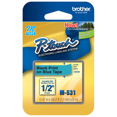 Fita Rotulador Brother 12mm M-531 Preto/Azul