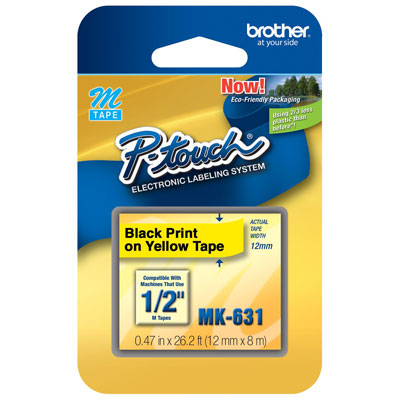 Fita Rotulador Brother 12mm MK-631 Preto/Amarelo