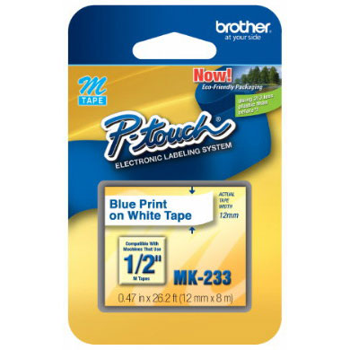 Fita Rotulador Brother 12mm MK-233 Azul/Branco