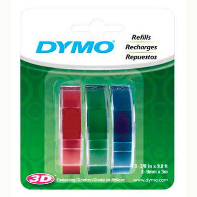 Blister com 3 Fitas Coloridas para Rotulador Manual Dymo