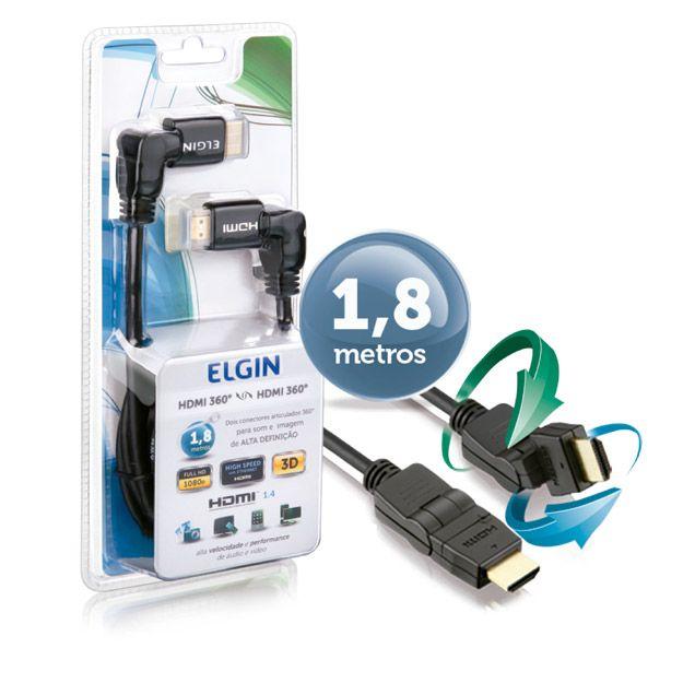 Cabo HDMI 360º - HDMI 360º 4K Elgin - Reprodutor de Som e Imagem