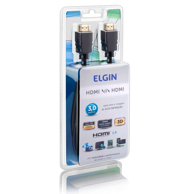 Cabo HDMI Elgin Full HD 3 Metros Reprodutor de Som e Imagem