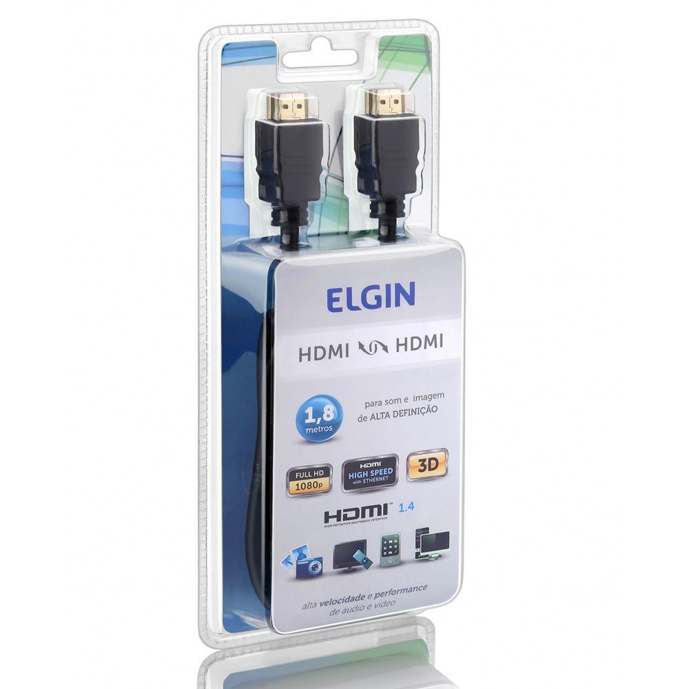 Cabo HDMI-HDMI Preto 1,8m Elgin