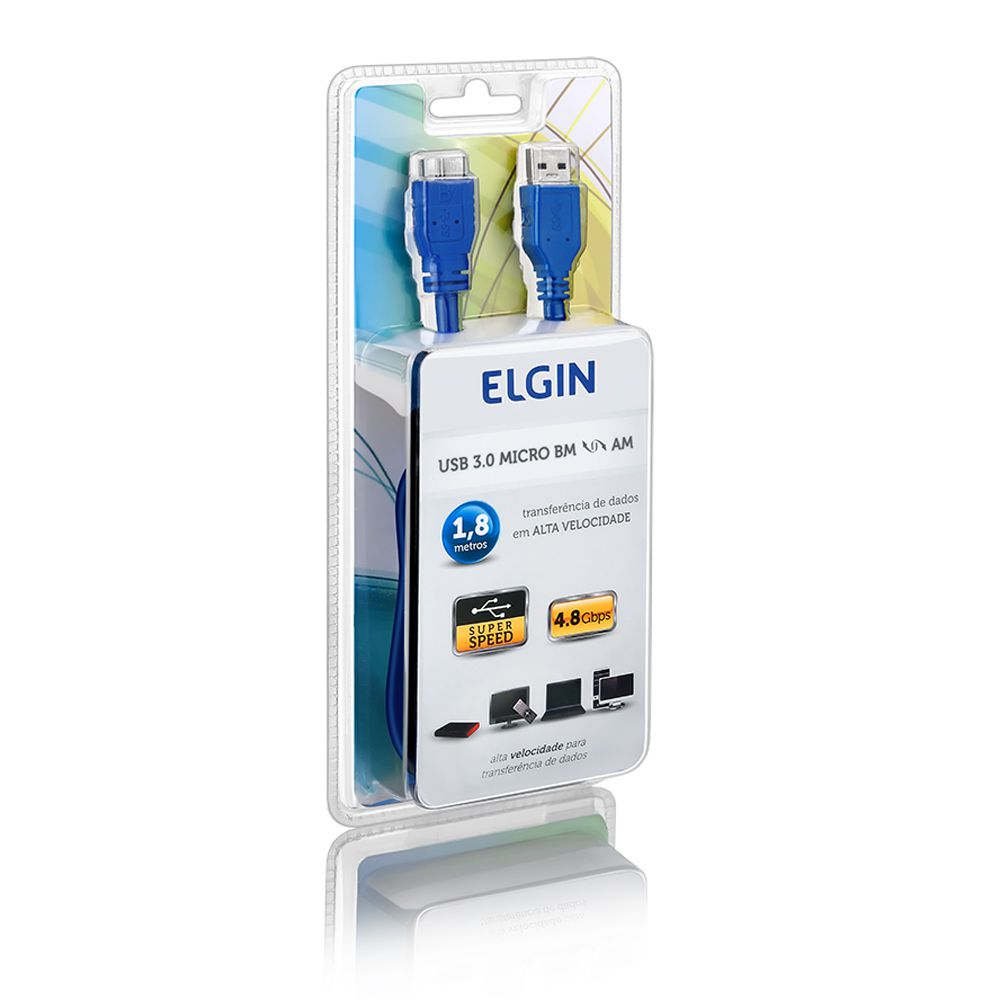 Cabo USB 3.0 conectores AM - Micro BM Azul Elgin