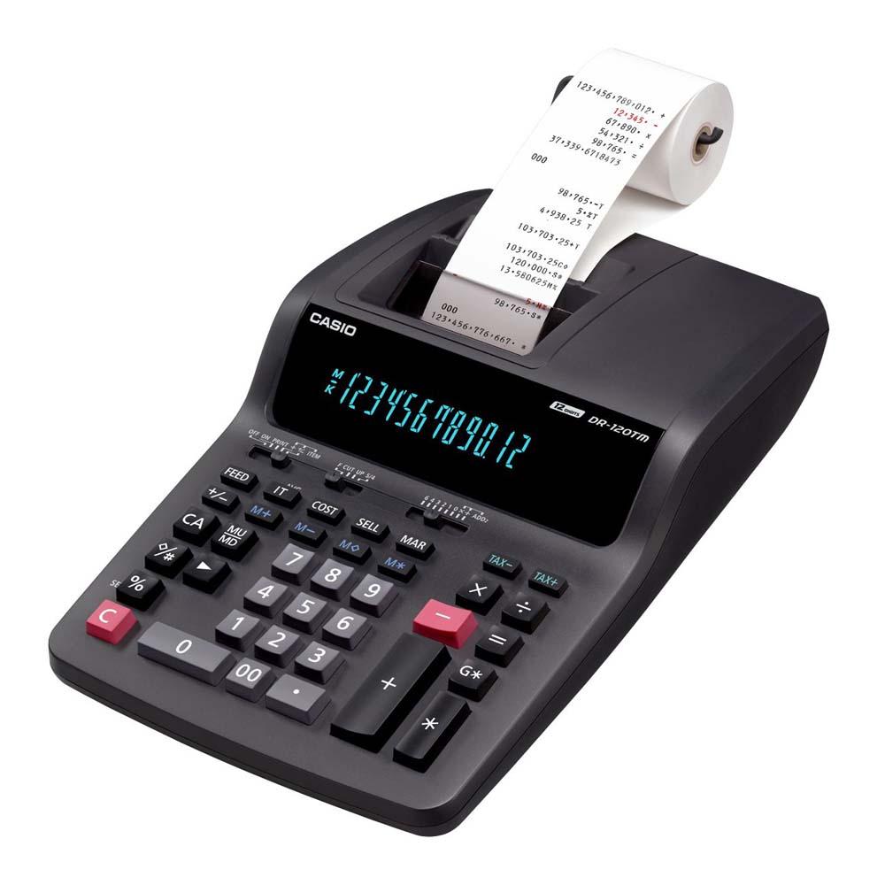 Calculadora c/ Bobina Casio DR-120TM 12 Dígitos 2 Cores Impressão 110V