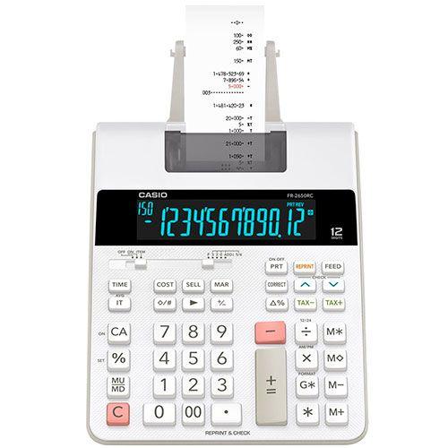 Calculadora Casio 12 Dig Com Bobina e Display Lad Branca FR-2650RC